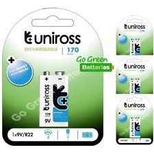 4 x Uniross 9V Block PP3 Rechargeable Battery 170 mAh