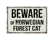 414Vs Beware Of Norwegian Forest Cat 8� x 12� Vintage Aluminum Retro Metal Sign