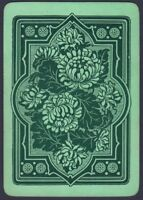 Playing Cards 1 Single Card Old Antique Wide Non Rev. CHRYSANTHEMUM FLOWERS Art