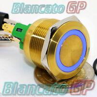 PULSANTE 22mm CHAMPAGNE ORO ACCIAIO INOX LED 12V BLU SPDT MONOSTABILE IP65 casa