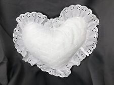 Vintage White Decorative Toss Pillow Lace Heart Shabby Cottage Ruffle Pillow