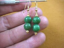 (ee403-10) light Green Jade Canada 10 mm gemstone bead + gold dangle earrings