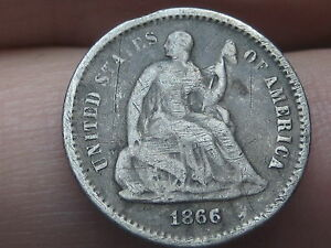 1866-S Seated Liberty Half Dime, VG/Fine Details