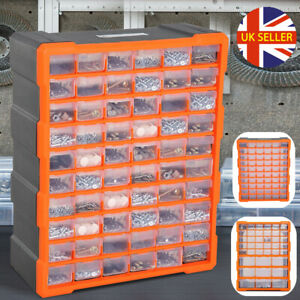 39/60 Drawers Parts Organiser Wall Mount Storage Cabinet Nuts Bolts Garage UK