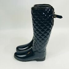 Hunter Quilted Tall Gloss Rain Boots Navy Blue Women's Size 7 New