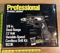 """B&D Pro Cordless Drill Kit 7.2V 3/8"""" Battery Chuck Key Charger and Case 1923K"""
