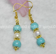 NATURAL 7-8MM REAL WHITE PEARL & 8MM BLUE TURQUOISE GEMS GLOD HOOK EARRINGS JE74