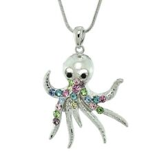Octopus Necklace Made With Swarovski Crystal Ocean Beach Sea Multi Color Pendant
