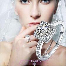 Diamond Silver Plated luxury Engagement Wedding Fake Ring-Diamond Look Jewelry