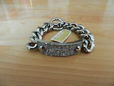Michael Kors Silver Tone Pave Plaque Toggle Bracelet  MSRP $165