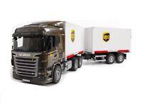 Bruder 03581 Scania Container Wechselbrücke UPS + Mitnahmestapler +Anhänger