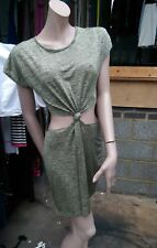Missguided golden Metallic Green Gold Beads dress size S/M Open Front Knotted