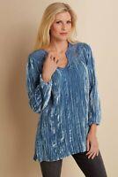 SOFT SURROUNDINGS Corinne Velvet Top Tunic -Blue-NEW -SZ M,L,XL,1X