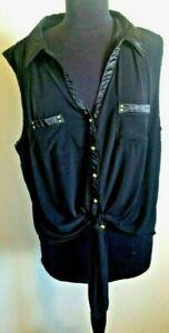 Dressbarn black dressy sleeveless gold button tie-bottom shirt~ 3X