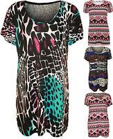 New Womens Plus Size Print Short Sleeve T-Shirt Ladies Stretch Long Top 14 - 28