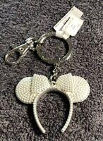 Disney Parks Silver Minnie Mouse Ears Headband Metal Keychain