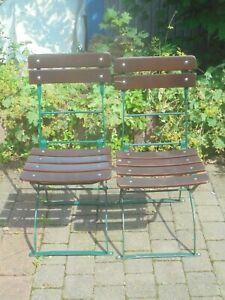 Alter Gartenstuhl Biergartenstuhl Klappstuhl Vintage Holz Metall grün 2