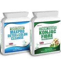 90 Glucomannan Konjac Fibre Weight Loss Plus 60 Max Pro Diet Detox Colon Cleanse
