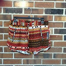 NWT Junior Large Black Rust Tribal Print Shorts Lightweight Zippers Front Tie