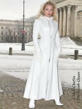 Ledermantel Leder Mantel Weiß Knöchellang Figurbetont Maßanfertigung