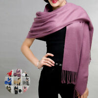 Women Winter Warm Pashmina Silk Cashmere Tassel Knit Long Shawl Wrap Scarf