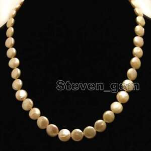 12-13mm Pink Coin Round Natural Freshwater Pearl Necklace for Women Chokers 6308