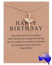 Ballerina Gold Dipped Pendant Inspirational Message Necklace Ballet Girl's Gift