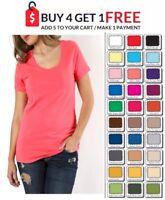 WOMENS SCOOP T SHIRT Short Sleeve PLUS Size Cotton Top Zenana XL/1X/2X