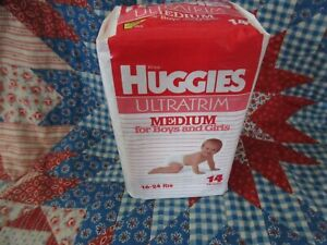 vintage diapers Medium Huggies for boys and girls unopened pack of 14