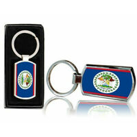 Belize Country Flag Printed Chrome Metal Keyring With Free Gift Box 0018