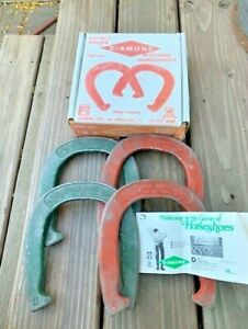 Vintage Set of 4 Diamond Duluth Double Ringer Horseshoes 2.5 lbs. red green