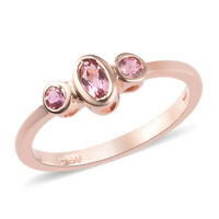 925 Sterling Silver Rose Gold Plated Pink Tourmaline Ring Jewelry Gift for Women
