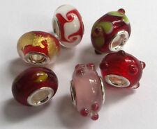 6 x Beads Sterlingsilber und Glasperle *** AUS ECHTEM SILBER + Glas, rot