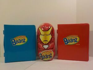 N HUGE Mighty Beanz Marvel Comics Super Heroes lot w Iron Man and cases
