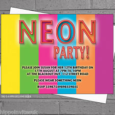 Personalised Neon Stripes Childrens Birthday Party Invitations x 12 +envs H0247