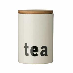 Mono Tea Canister, White Dolomite, Bamboo Lid