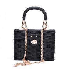 Rattan Black Straw Shoulder Bag Women Hand-woven Messenger Bag Summer Beach