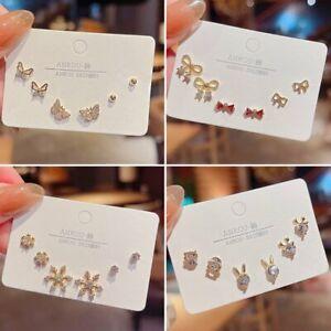 3/4/5Pcs/set Crystal 925 Silver Butterfly Ear Stud Earrings Women Jewelry Gifts