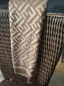 "authentic fendi scarf - Wrap  27"" X 73"" Beautiful 100% Lightweight Wool"