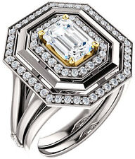 1.33 carat Emerald & round cut Diamond Halo Engagement 14k Two-tone Gold Ring