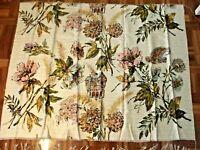 Vintage Barkcloth Panel Pink Gold Turquoise 50's Fabric Panel Mid-Century