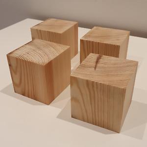 Wooden 69mm Square Cube Blocks Crafts Bundle Natural Eco Bricks Gift Painting