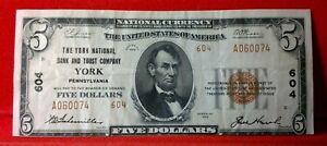 1929 $5 York National Bank and Trust Company YORK, PA #604  ~