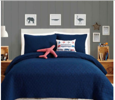 4-Piece Twin Quilt Set in Blue Airplane Themed Boys Bed in a Bag