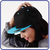 New Good Quality Beechfield Boys Girls Snapback Plain Coloured Baseball Caps