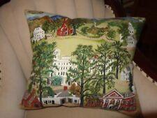 "Vintage Grandma Moses Williams Town Bark Cloth Pillow (18"" x 21"")"