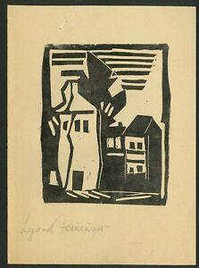LYONEL FEININGER Old Colored woodcut - Hand signed in pencil
