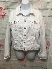 Eileen Fisher Organic Cotton Stretch Denim WHITE Cropped Jean Jacket M EUC