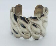 Vintage Los Ballesteros Mexican Sterling Silver Heavy Modernist Cuff Bracelet