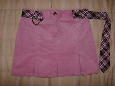 IZ Byer NWOT pink pinwale corduroy skirt kick pleats fabric belt 12 youth girl